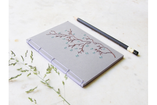 Blooming Branch. Gray Small Notebook by Fabulous Cat Papers