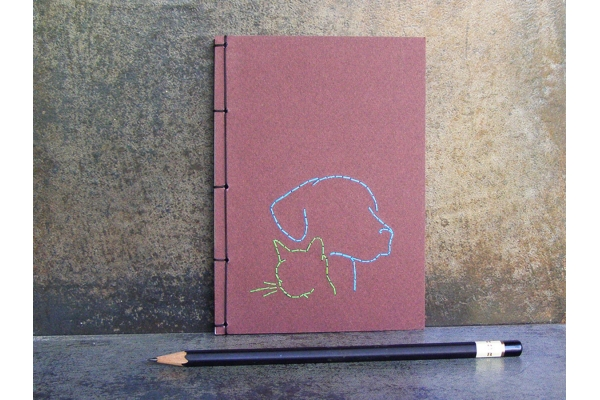 Dog and Cat Embroidered A6 Notebook by Fabulous Cat Papers