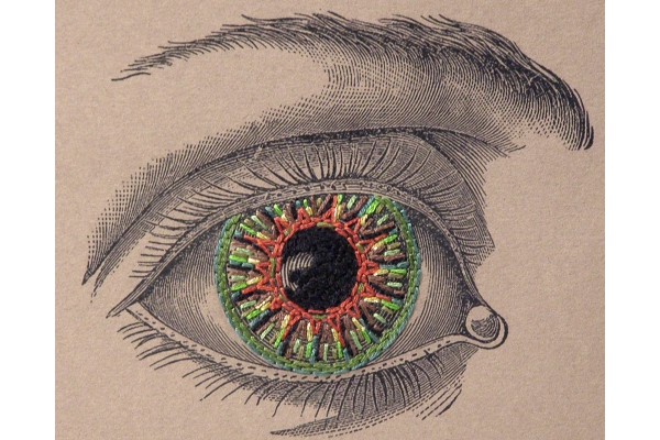 Vintage Eye. Paper Embroidery by Fabulous Cat Papers