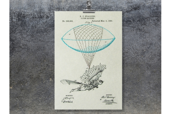 Flying Machine. Paper Embroidery by Fabulous Cat Papers