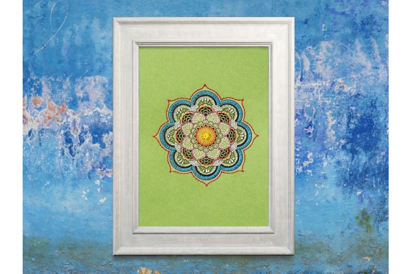 Green Mandala. Paper Embroidery by FabulousCatPapers