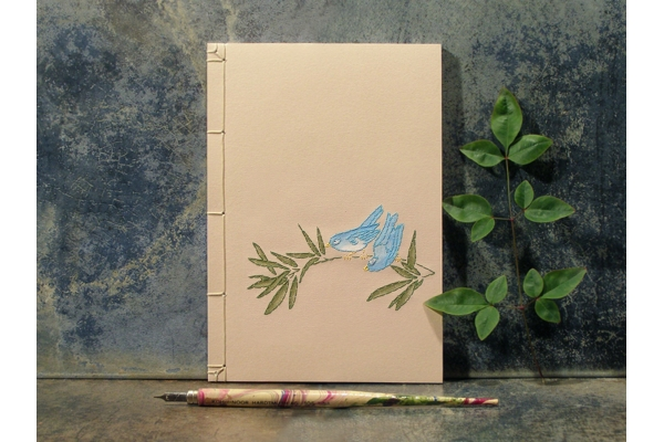 Two Little Blue Birds on a Tree Branch by Fabulous Cat Papers