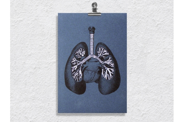 Lungs Anatomy. Paper Embroidery by Fabulous Cat Papers