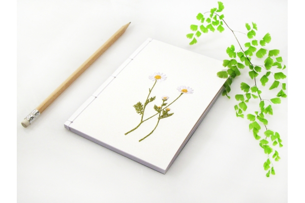 Chamomiles. Cute Embroidered A6 Notebook by Fabulous Cat Papers