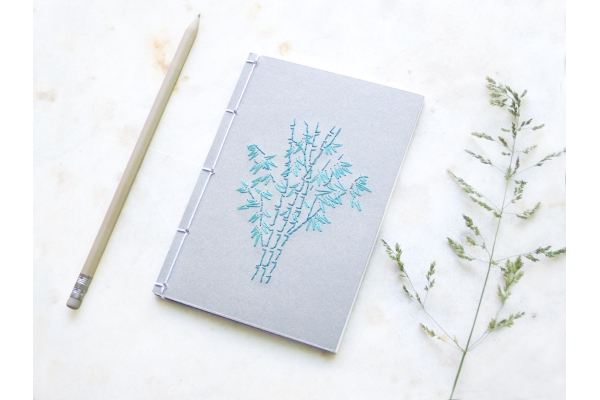 Bamboo Trees. Embroidered A6 Notebook by Fabulous Cat Papers