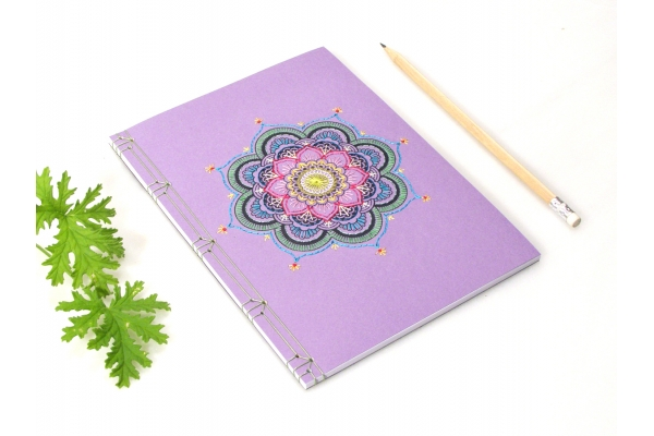 Purple Mandala. Embroidered Yoga Journal by Fabulous Cat Papers
