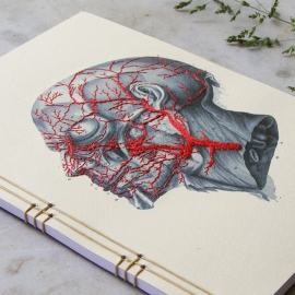 Hand Embroidered Anatomical Journal by FabulousCatPapers