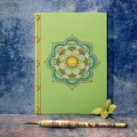 Green Mandala Notebook by Fabulous Cat Papers