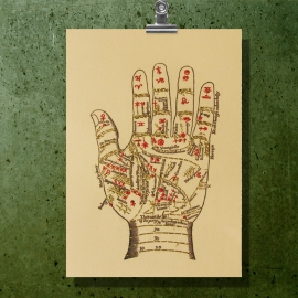 Palmistry. Zodiac Hand. Paper Embroidery by Fabulous Cat Papers