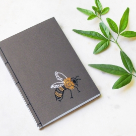 Bumble Bee. A6 Embroidered Notebook by Fabulous Cat Papers