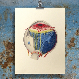 Anatomical Eye. Paper Embroidery by Fabulous Cat Papers