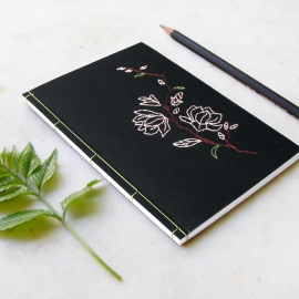 Magnolia on Black. Embroidered Notebook by Fabulous Cat Papers