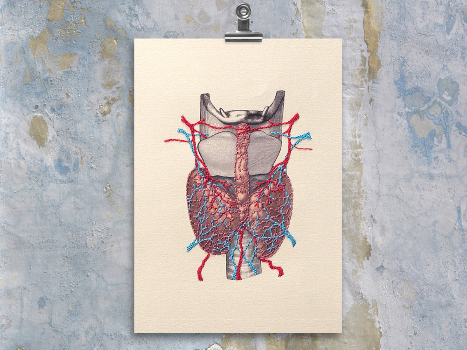 Thyroid Gland Anatomy. Paper Embroidery by Fabulous Cat Papers ...