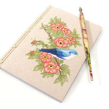 Cute Blue Bird on Wild Red Roses