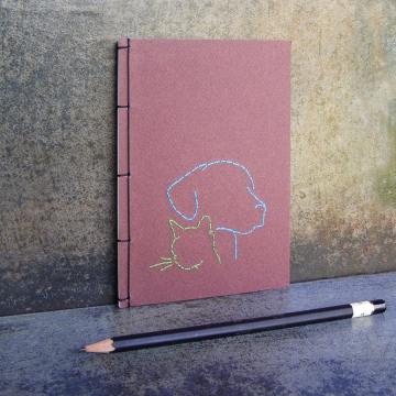 Dog and Cat Silhouette. Small A6 Notebook