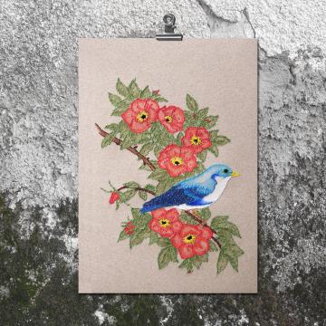 Blue Bird on Wild Roses