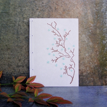 Blooming Branch. Gray Small Notebook