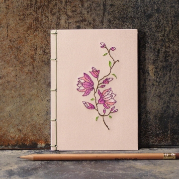 Magnolia. Small Floral Notebook on Pink
