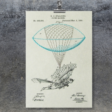 Flying Machine. Paper Embroidery