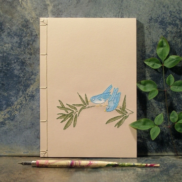 Two Little Blue Birds on a Tree Branch