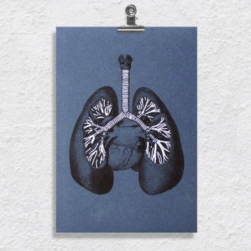 Lungs Anatomy. Paper Embroidery