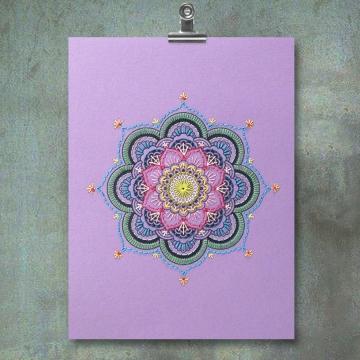 Purple Mandala. Paper Embroidery.